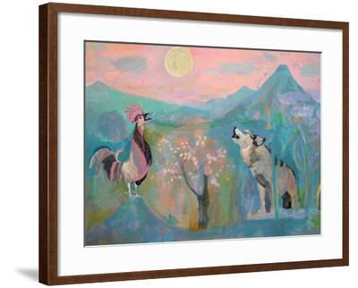 The Wolf and the Rooster Sing by Moonlight-Iria Fernandez Alvarez-Framed Art Print