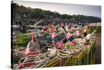 Lobster buoys, Lobster Cove, Annisquam, Cape Ann, Essex County, Massachusetts, USA--Stretched Canvas Print