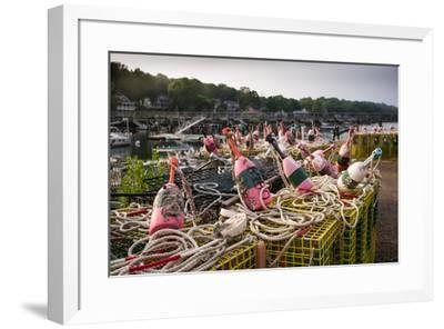 Lobster buoys, Lobster Cove, Annisquam, Cape Ann, Essex County, Massachusetts, USA--Framed Photographic Print