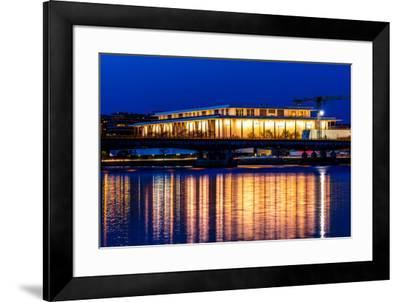 WASHINGTON D.C. -Kennedy Center Performing Arts with reflection on Potomac River - Washington D.C.--Framed Photographic Print