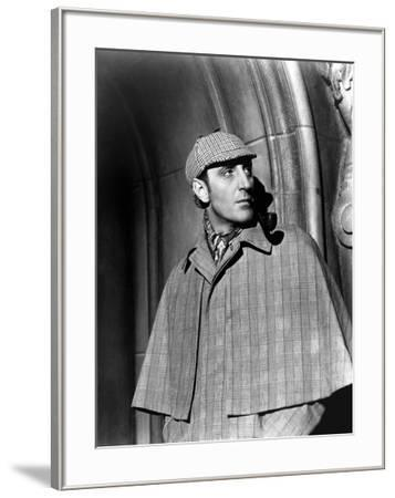 THE HOUND OF THE BASKERVILLES, 1939 directed by SIDNEY LANFIELD. Basil Rathbone (b/w photo)--Framed Photo