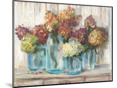 Hydrangeas in Glass Jars White Wood-Carol Rowan-Mounted Art Print