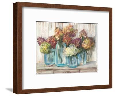 Hydrangeas in Glass Jars White Wood-Carol Rowan-Framed Art Print