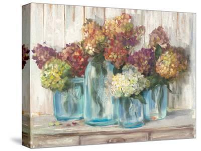 Hydrangeas in Glass Jars White Wood-Carol Rowan-Stretched Canvas Print