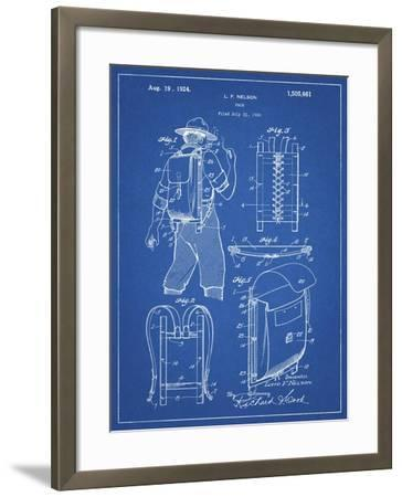 PP342-Blueprint Trapper Nelson Backpack 1924 Patent Poster-Cole Borders-Framed Giclee Print
