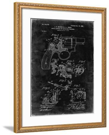 PP375-Black Grunge Smith and Wesson Hammerless Pistol 1898 Patent Poster-Cole Borders-Framed Giclee Print