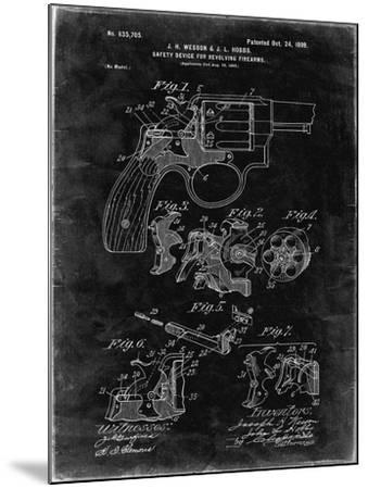 PP375-Black Grunge Smith and Wesson Hammerless Pistol 1898 Patent Poster-Cole Borders-Mounted Giclee Print