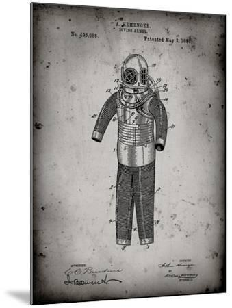 PP343-Faded Grey Hemenger Diving Armor Poster-Cole Borders-Mounted Giclee Print