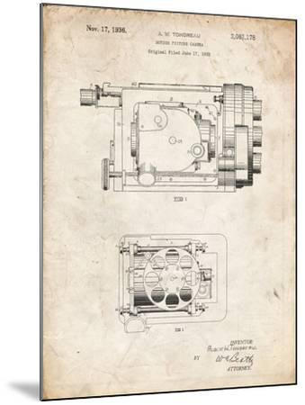 PP390-Vintage Parchment Motion Picture Camera 1932 Patent Poster-Cole Borders-Mounted Giclee Print