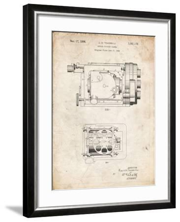 PP390-Vintage Parchment Motion Picture Camera 1932 Patent Poster-Cole Borders-Framed Giclee Print