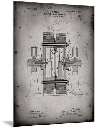 PP423-Faded Grey Tesla Electric Circuit Controller Poster-Cole Borders-Mounted Giclee Print