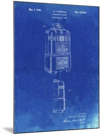 PP347-Faded Blueprint Jukebox Patent Poster-Cole Borders-Mounted Giclee Print