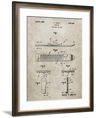 PP358-Sandstone Berta Magnetic Boot Snowboard Patent Poster-Cole Borders-Framed Giclee Print