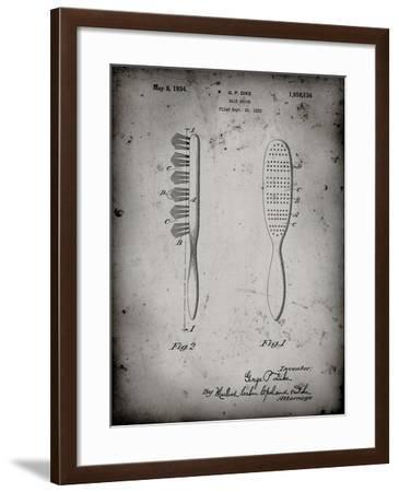 PP352-Faded Grey Wooden Hair Brush 1933 Patent Poster-Cole Borders-Framed Giclee Print