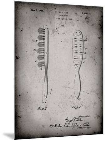 PP352-Faded Grey Wooden Hair Brush 1933 Patent Poster-Cole Borders-Mounted Giclee Print