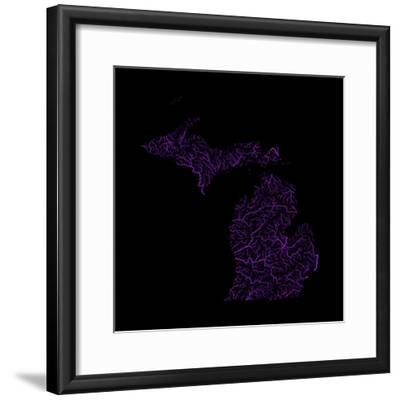 River Basins Of Michigan In Rainbow Colours-Grasshopper Geography-Framed Giclee Print