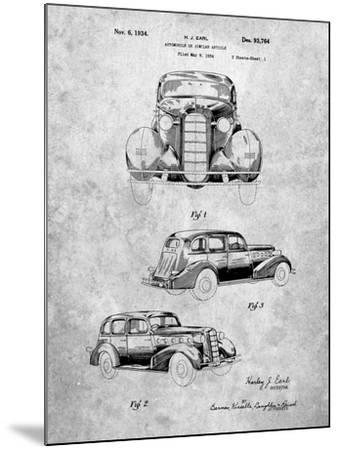 PP471-Slate 1934 Buick Automobile Patent Poster-Cole Borders-Mounted Giclee Print
