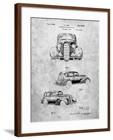 PP471-Slate 1934 Buick Automobile Patent Poster-Cole Borders-Framed Giclee Print