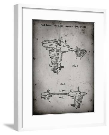 PP529-Faded Grey Star Wars Redemption Ship Patent Poster-Cole Borders-Framed Giclee Print