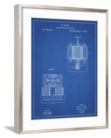 PP532-Blueprint Tesla Electro Magnetic Motor Poster-Cole Borders-Framed Giclee Print