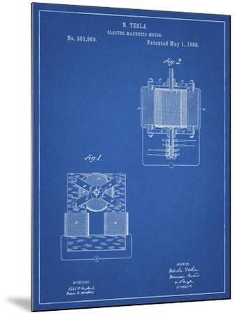 PP532-Blueprint Tesla Electro Magnetic Motor Poster-Cole Borders-Mounted Giclee Print