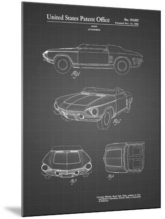 PP489-Black Grid 1962 Chevrolet Covair Super Spyder Concept Patent Print-Cole Borders-Mounted Giclee Print
