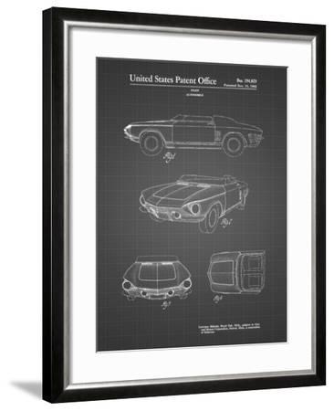 PP489-Black Grid 1962 Chevrolet Covair Super Spyder Concept Patent Print-Cole Borders-Framed Giclee Print