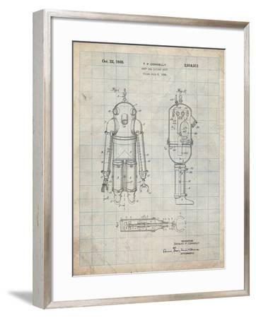 PP479-Antique Grid Parchment Deep Sea Diving Suit Patent Poster-Cole Borders-Framed Giclee Print