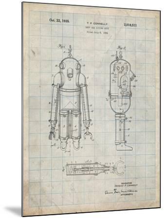 PP479-Antique Grid Parchment Deep Sea Diving Suit Patent Poster-Cole Borders-Mounted Giclee Print