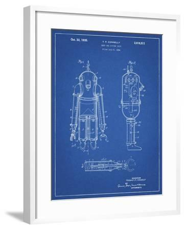 PP479-Blueprint Deep Sea Diving Suit Patent Poster-Cole Borders-Framed Giclee Print