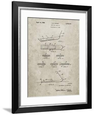 PP508-Sandstone Snurfer Poppen First Modern Snowboard Patent Poster-Cole Borders-Framed Giclee Print