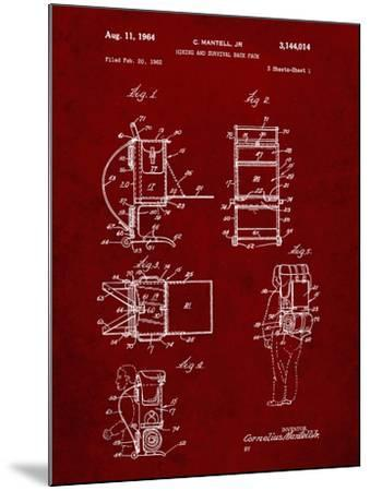 PP632-Burgundy Framed Hiking Pack Patent Poster-Cole Borders-Mounted Giclee Print