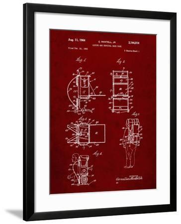 PP632-Burgundy Framed Hiking Pack Patent Poster-Cole Borders-Framed Giclee Print