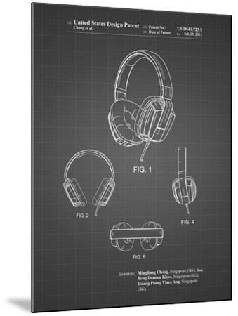PP550-Black Grid Headphones Patent Poster-Cole Borders-Mounted Giclee Print