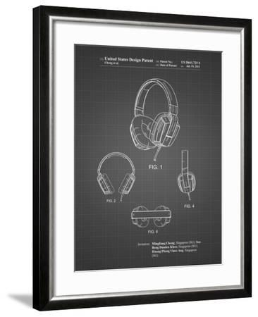 PP550-Black Grid Headphones Patent Poster-Cole Borders-Framed Giclee Print