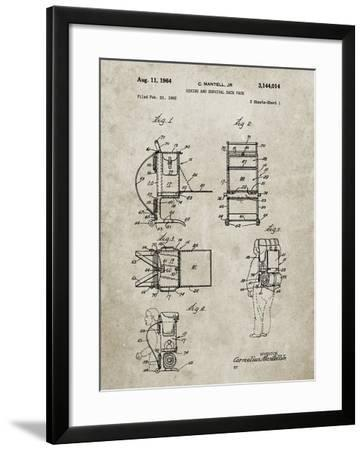 PP632-Sandstone Framed Hiking Pack Patent Poster-Cole Borders-Framed Giclee Print