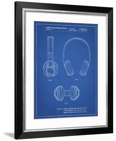 PP596-Blueprint Bluetooth Headphones Patent Poster-Cole Borders-Framed Giclee Print