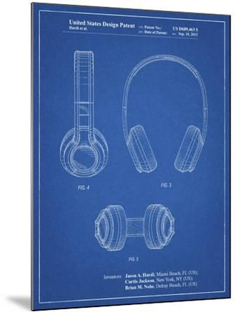 PP596-Blueprint Bluetooth Headphones Patent Poster-Cole Borders-Mounted Giclee Print
