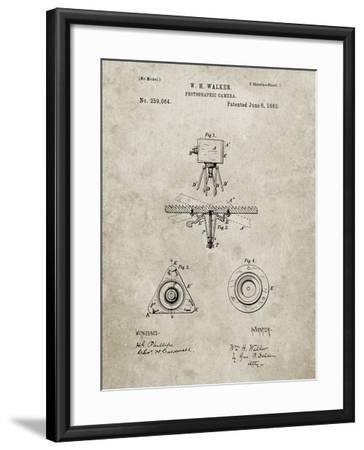 PP609-Sandstone Antique Camera Tripod Head Improvement Patent Poster-Cole Borders-Framed Giclee Print