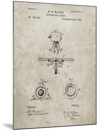 PP609-Sandstone Antique Camera Tripod Head Improvement Patent Poster-Cole Borders-Mounted Giclee Print