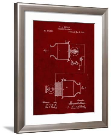 PP644-Burgundy Edison Speaking Telegraph Patent Poster-Cole Borders-Framed Giclee Print