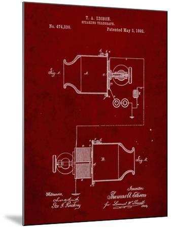 PP644-Burgundy Edison Speaking Telegraph Patent Poster-Cole Borders-Mounted Giclee Print