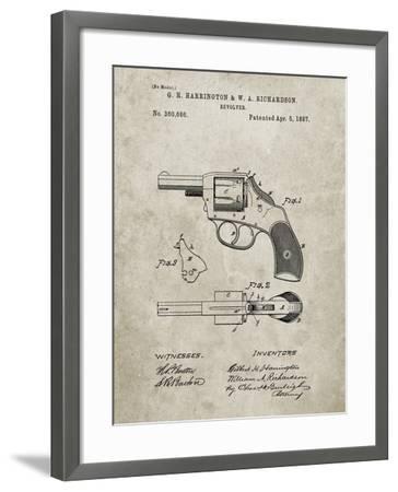 PP633-Sandstone H & R Revolver Pistol Patent Poster-Cole Borders-Framed Giclee Print