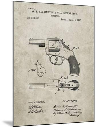 PP633-Sandstone H & R Revolver Pistol Patent Poster-Cole Borders-Mounted Giclee Print