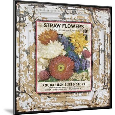 JP0543-Tin Tile-Straw Flowers-Jean Plout-Mounted Giclee Print
