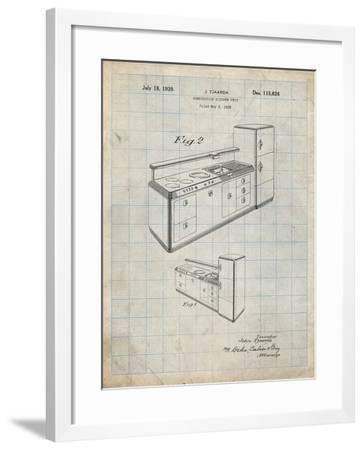 PP659-Antique Grid Parchment Kitchen Cabinets Poster-Cole Borders-Framed Giclee Print