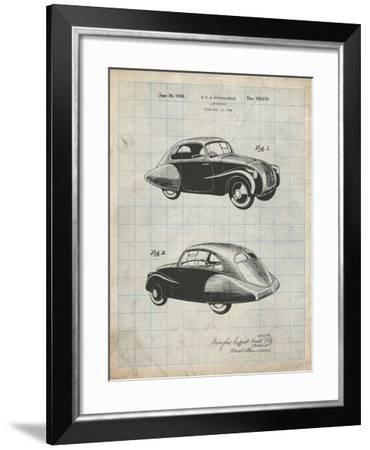PP697-Antique Grid Parchment 1936 Tatra Concept Patent Poster-Cole Borders-Framed Giclee Print