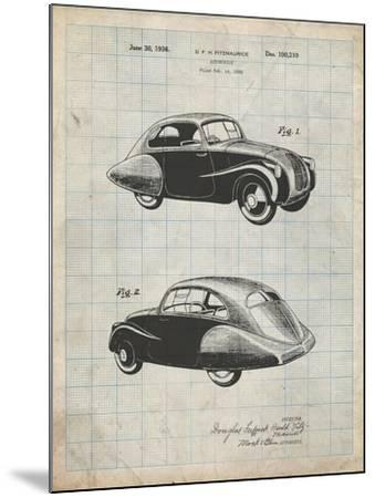 PP697-Antique Grid Parchment 1936 Tatra Concept Patent Poster-Cole Borders-Mounted Giclee Print