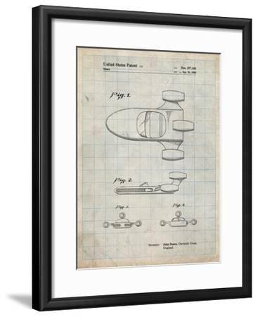 PP650-Antique Grid Parchment Star Wars X-34 Landspeeder Patent Poster-Cole Borders-Framed Giclee Print