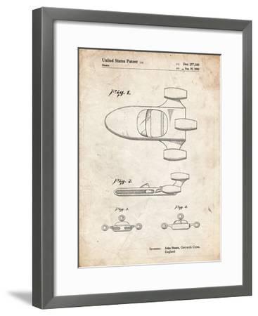 PP650-Vintage Parchment Star Wars X-34 Landspeeder Patent Poster-Cole Borders-Framed Giclee Print